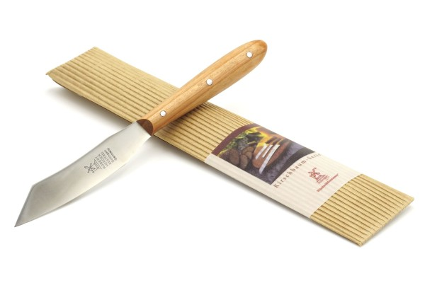 Windmühlenmesser Obst- und Kräutermesser Mini-Yatagan - Griff: Kirsche - Produktansicht mit Verpackung
