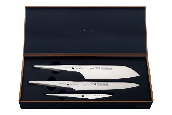 CHROMA Type 301 Messer-Set - 3 teilig - Santoku, Tranchiermesser und Schälmesser